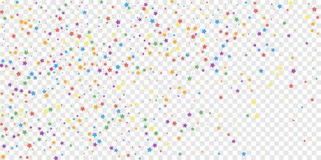 Festive confetti. Celebration stars. Joyous stars on transparent background. Ecstatic festive overlay template. Attractive vector illustration.