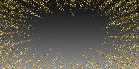 Gold triangles luxury sparkling confetti. Scattered small gold particles on transparent background. Charming festive overlay template. Incredible vector illustration.