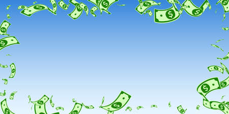 American dollar notes falling. Random USD bills on blue sky background. USA money. Curious vector illustration. Trending jackpot, wealth or success concept.