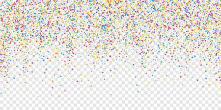 Festive confetti. Celebration stars. Rainbow confetti on transparent background. Dazzling festive overlay template. Adorable vector illustration. Ilustração