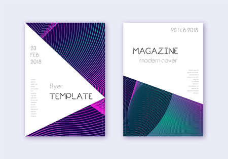 Triangle cover design template set. Neon abstract lines on dark blue background. Incredible cover design. Actual catalog, poster, book template etc.
