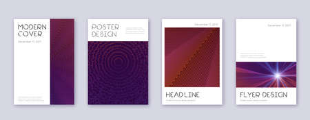 Minimal brochure design template set. Violet abstract lines on dark background. Artistic brochure design. Majestic catalog, poster, book template etc.