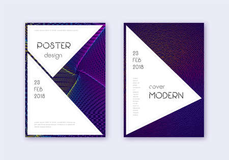 Stylish cover design template set. Rainbow abstract lines on dark blue background. Fantastic cover design. Fine catalog, poster, book template etc.