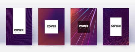 Hipster brochure design template set. Violet abstract lines on dark background. Amusing brochure design. Unusual catalog, poster, book template etc.