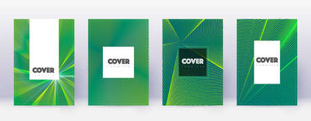 Hipster brochure design template set. Green abstract lines on dark background. Amazing brochure design. Shapely catalog, poster, book template etc.