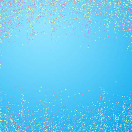 Festive confetti. Celebration stars. Colorful stars small on blue sky background. Charming festive overlay template. Glamorous vector illustration.