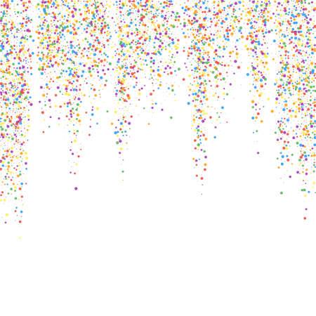 Festive confetti. Celebration stars. Colorful confetti on white background. Eminent festive overlay template. Graceful vector illustration. Ilustração