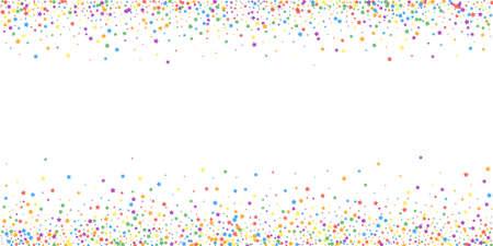 Festive confetti. Celebration stars. Rainbow bright stars on white background. Creative festive overlay template. Authentic vector illustration.