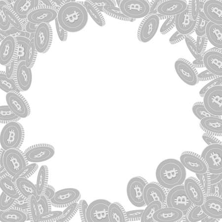 Bitcoin, internet currency coins falling. Scattered black and white BTC big coins. Jackpot or success concept. Glamorous round random frame vector illustration.