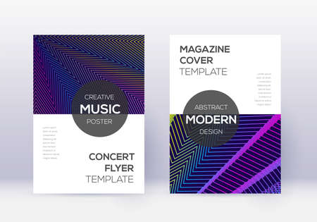 Modern cover design template set. Rainbow abstract lines on dark blue background. Exotic cover design. Noteworthy catalog, poster, book template etc.