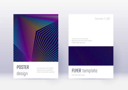 Minimalistic cover design template set. Rainbow abstract lines on dark blue background. Elegant cover design. Original catalog, poster, book template etc. Ilustração