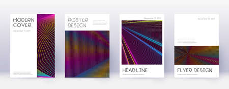 Minimal brochure design template set. Rainbow abstract lines on wine red background. Artistic brochure design. Extraordinary catalog, poster, book template etc.