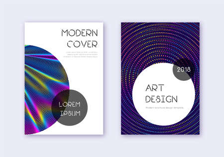 Trendy cover design template set. Rainbow abstract lines on dark blue background. Graceful cover design. Rare catalog, poster, book template etc.