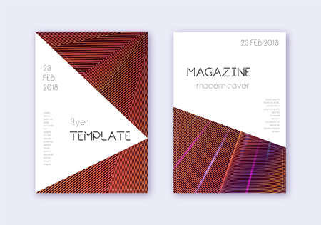 Triangle cover design template set. Orange abstract lines on wine red background. Incredible cover design. Eminent catalog, poster, book template etc.