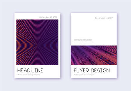 Minimal cover design template set. Violet abstract lines on dark background. Dramatic cover design. Lively catalog, poster, book template etc.