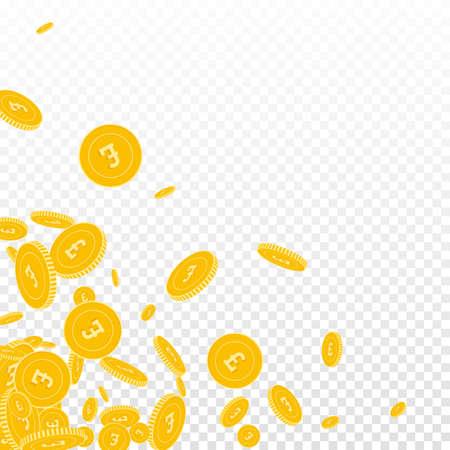 British pound coins falling. Scattered floating GBP coins on transparent background. Actual scattered bottom left corner vector illustration. Jackpot or success concept. Ilustração
