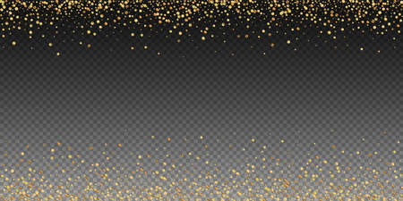Gold confetti luxury sparkling confetti. Scattered small gold particles on transparent background. Artistic festive overlay template. Mesmeric vector illustration.