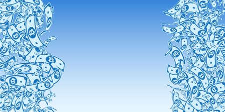 Bitcoin, internet currency notes falling. Messy BTC bills on blue sky background. Cryptocurrency, digital money. Alluring vector illustration. Comely jackpot, wealth or success concept. Ilustração