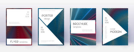 Stylish brochure design template set. Red abstract lines on white blue background. Bewitching brochure design. Extraordinary catalog, poster, book template etc.