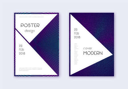 Stylish cover design template set. Neon abstract lines on dark blue background. Fancy cover design. Interesting catalog, poster, book template etc.