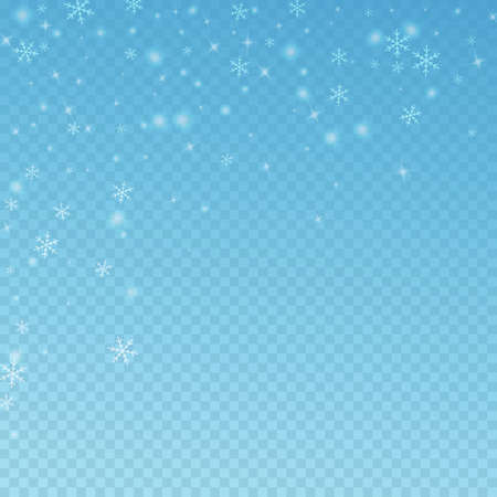 Sparse glowing snow Christmas background. Subtle flying snow flakes and stars on blue transparent background. Adorable winter silver snowflake overlay template. Positive vector illustration.
