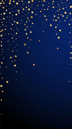 Festive exotic confetti. Celebration stars. Sparse gold confetti on dark blue background. Glamorous festive overlay template. Vertical vector background.