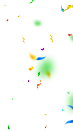 Streamers and confetti. Festive streamers tinsel and foil ribbons. Confetti explosion on white background. Beautiful party overlay template. Immaculate celebration concept.