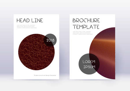 Trendy cover design template set. Orange abstract lines on wine red background. Glamorous cover design. Brilliant catalog, poster, book template etc. 向量圖像