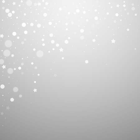 Magic stars random Christmas background. Subtle flying snow flakes and stars on light grey background. Adorable winter silver snowflake overlay template. Neat vector illustration.
