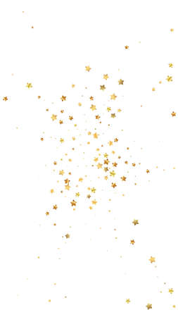 Gold stars random luxury sparkling confetti. Scattered small gold particles on white background. Elegant festive overlay template. Original vector background. 向量圖像