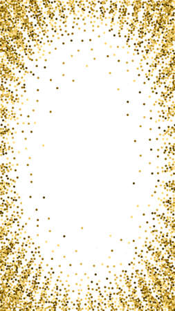 Round gold glitter luxury sparkling confetti. Scattered small gold particles on white background. Dramatic festive overlay template. Lively vector background. 向量圖像