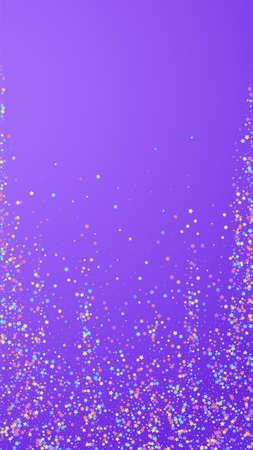 Festive stunning confetti. Celebration stars. Colorful stars small on violet background. Glamorous festive overlay template. Vertical vector background. 向量圖像