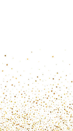 Festive unequaled confetti. Celebration stars. Gold confetti on white background. Great festive overlay template. Vertical vector background.
