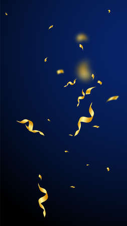 Streamers and confetti. Gold streamers tinsel and foil ribbons. Confetti explosion on dark blue background. Beautiful party overlay template. Good-looking celebration concept.