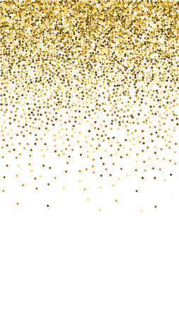 Round gold glitter luxury sparkling confetti. Scattered small gold particles on white background. Excellent festive overlay template. Grand vector background. 向量圖像