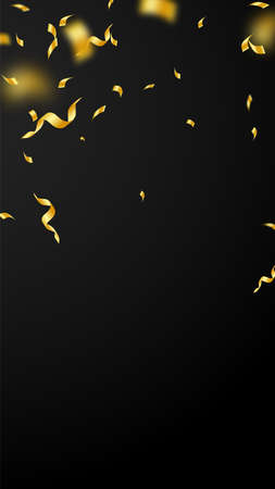Streamers and confetti. Gold streamers tinsel and foil ribbons. Confetti falling rain on black background. Beautiful party overlay template. Stylish celebration concept.