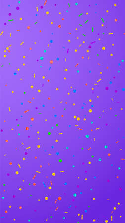 Festive surprising confetti. Celebration stars. Festive confetti on violet background. Good-looking festive overlay template. Vertical vector background. Illustration