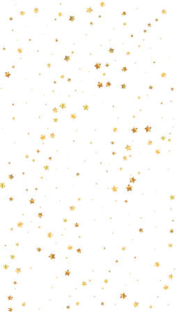 Gold stars random luxury sparkling confetti. Scattered small gold particles on white background. Emotional festive overlay template. Precious vector background. 向量圖像