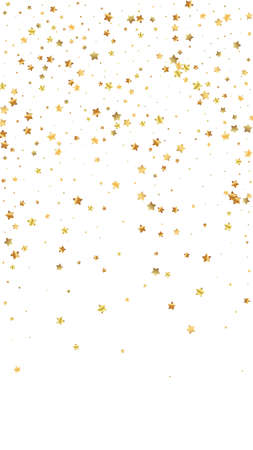 Gold stars random luxury sparkling confetti. Scattered small gold particles on white background. Enchanting festive overlay template. Alive vector background.