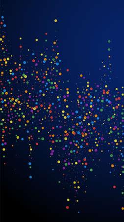 Festive posh confetti. Celebration stars. Colorful confetti on dark blue background. Fresh festive overlay template. Vertical vector background.