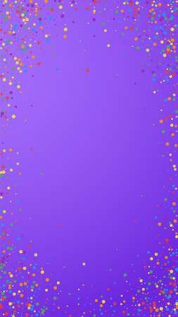 Festive fascinating confetti. Celebration stars. Rainbow confetti on violet background. Favorable festive overlay template. Vertical vector background.