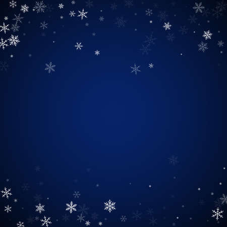 Sparse snowfall Christmas background. Subtle flying snow flakes and stars on dark blue night background. Adorable winter silver snowflake overlay template. Glamorous vector illustration.