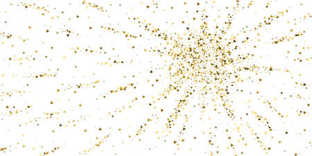 Gold triangles luxury sparkling confetti. Scattered small gold particles on white background. Authentic festive overlay template. Elegant vector illustration. 向量圖像