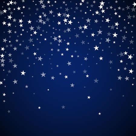 Random falling stars Christmas background. Subtle flying snow flakes and stars on dark blue night background. Bizarre winter silver snowflake overlay template. Classy vector illustration. 向量圖像