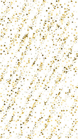 Gold triangles luxury sparkling confetti. Scattered small gold particles on white background. Emotional festive overlay template. Radiant vector background.