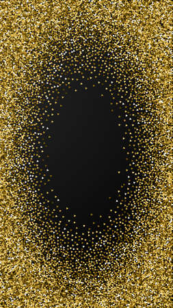 Gold triangles glitter luxury sparkling confetti. Scattered small gold particles on black background. Divine festive overlay template. Unique vector background.