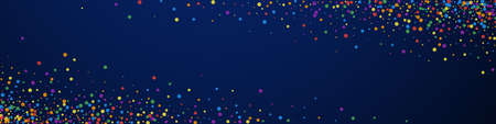 Festive amazing confetti. Celebration stars. Joyous confetti on dark blue background. Admirable festive overlay template. Panoramic vector background. Illustration