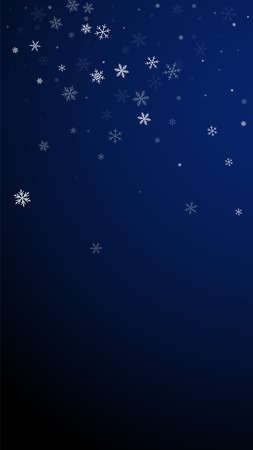 Sparse snowfall Christmas background. Subtle flying snow flakes and stars on dark blue background. Appealing winter silver snowflake overlay template. Imaginative vertical illustration.