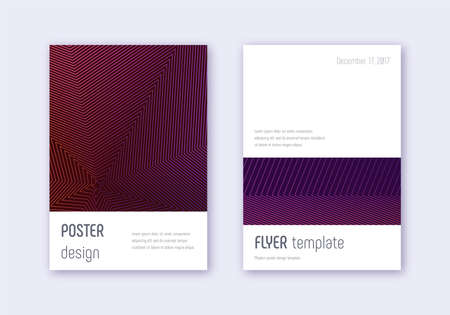 Minimalistic cover design template set. Violet abstract lines on dark background. Eminent cover design. Wonderful catalog, poster, book template etc.
