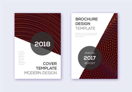 Modern cover design template set. Orange abstract lines on wine red background. Extraordinary cover design. Radiant catalog, poster, book template etc.